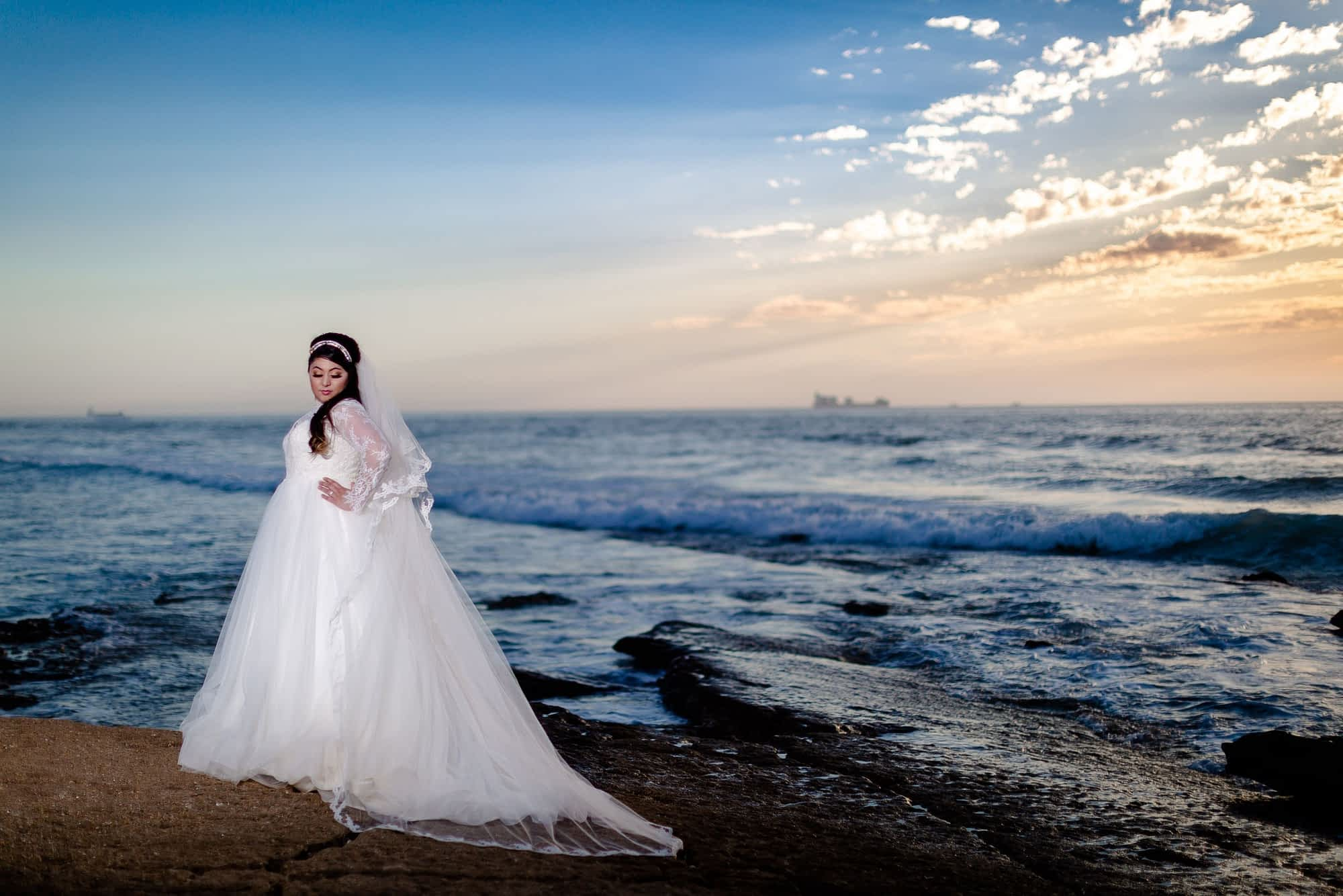 Bridal portrait on Agadir's beach