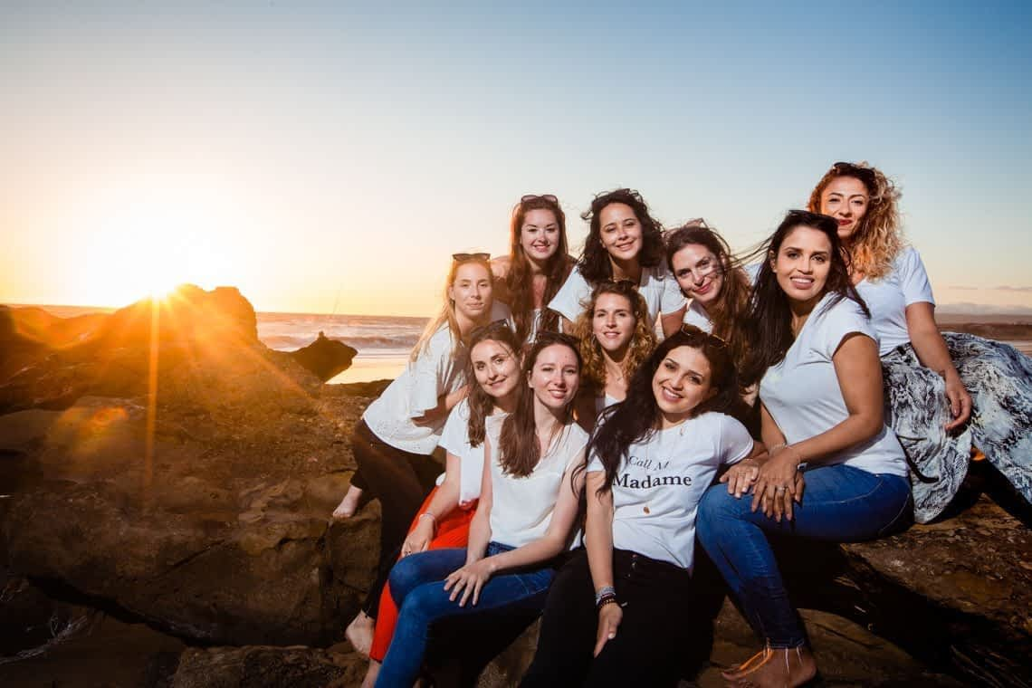 Bridesmaid Beach photoshoot ideas from wedding photographer in Agadir