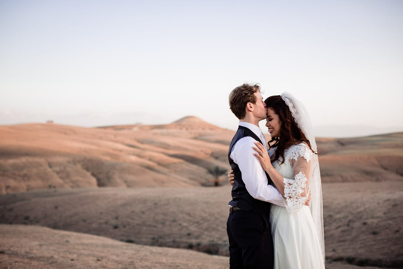 Wedding photos in Agafay desert in Marrakech