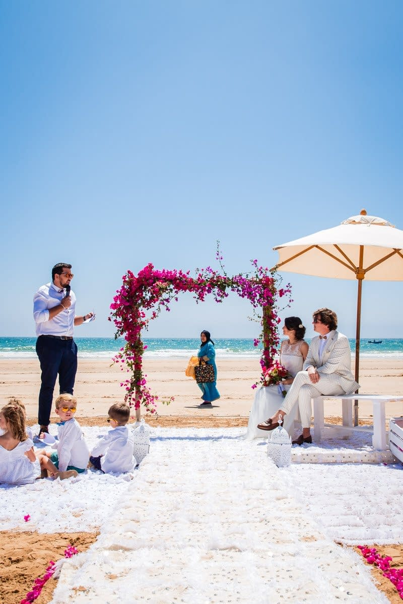 Beautiful beach wedding photography at Paradis Plage in Agadir